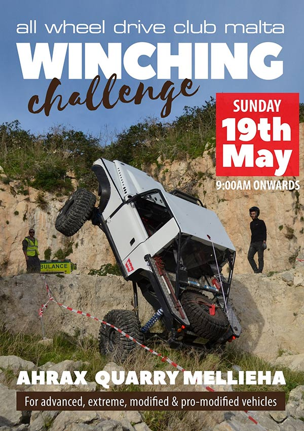flyer winching challenge all wheel drive club malta ahrax quarry mellieha 20190519 the belgian fry